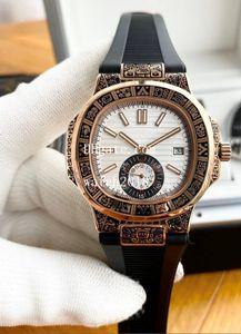 La última versión Boutique de la manera del reloj para hombre del tallado Bisel Casual 316L completamente mecánico automático de correa de caucho de 42 mm Reloj de los hombres