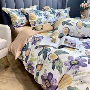 Romântico jogo de cama da menina adolescente, cheio rei da rainha 60s planta de algodão retro flwoer tampa do lençol fronha edredão dupla têxteis lar