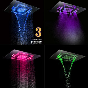 5 Função Chrome Cachoeira Chuva Névoa Banho Massagem Jet torneira do chuveiro High Flow 70L termostática Mixer Set Bath Shower Válvula Chuveiro