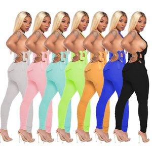 Las nuevas mujeres Tie-Dye Colores sólidos sin mangas de chándal Encaje Tees + Cremallera plicado flacos de las dos piezas traje ropa informal Conjunto D71402