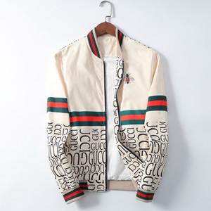 남성 디자이너 후드 재킷 윈드 브레이커 스포츠웨어 봄 가을 캐주얼 재킷 의류 지퍼 칼라 격자 무늬 인쇄 슬림 자켓