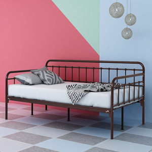 Metal Daybed Frame Twin Steel Slats Platform Base Box Spring Replacement Bed Sofa for Living Room Guest Room Twin Bronze