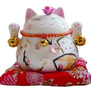 Maneki Neko Ceramic Lucky Cat Home Decor Porcelain Figurine Business Gift Fortune Cat Money Box Fengshui Craft Openning Ornament T200710
