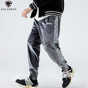 Aolamegs Sweatpants Side Cute Skull Letter Print Casual Velour Joggers Pencil Pants Hip Hop Cozy Sport Track Trousers Streetwear