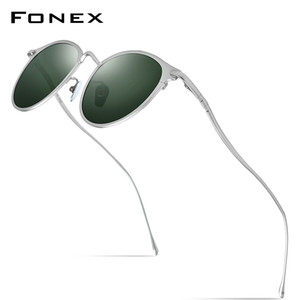 FONEX Pure Titanium Sunglasses Men Vintage Small Round Polarized Sun Glasses for Women 2019 New Retro Mirrored UV400 Shades 8509 CX200707