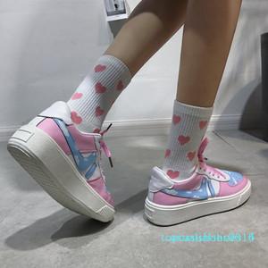 fujin Mulheres flats Gilrs rosa doce Plano Sneakers respirável Primavera Outono Feminino Lace Up calçados casuais calçado sapatos plataforma C14