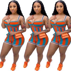 2020 Summer Designer New Line Comes On The Market Women's Summer Sling Printed Striped Jumpsuit
