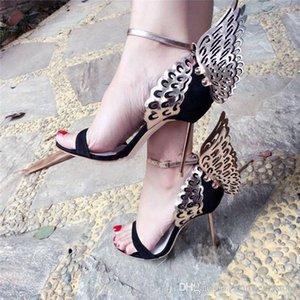 최신 여성 나비 얇은 하이힐 샌들 절묘한 패션 날개 신발 여성 연회 파티 웨딩 드레스 하이힐