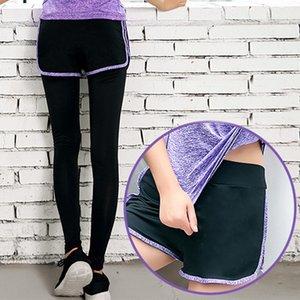 Sahte İki parça Spor Pantolon Yüksek Bel Hızlı Kuru Stretch Kadınlar Spor Tozluklar Hsj88 Drop Shipping