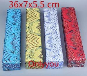 High End rectangulaire en bois Boîte de rangement rouleau de peinture en soie chinoise Tissu Emballage cadeau Boîte Boîtes de décoration de l'artisanat 36x7x5.5 cm