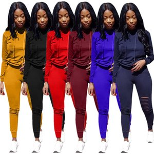 2020 New in Europe and America Fashion Women's Two Piece set Solid color sports burned hooded suit two piece set