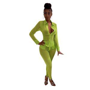 Mujer Camisas Dos pantalones piezas de acoplamiento atractivo Trajes Sheer ocasionales de los pantalones de manga larga superior Capris de las mujeres 2 pieza Trajes