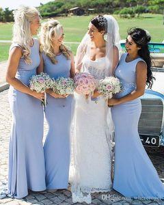 2020 Cheap Mermaid Bridesmaid Dresses With Jewel Neck Stain Wedding Guest Wear Floor Length Wedding Guest Dress Custom