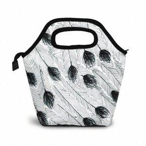 Эму перо обед мешок обед / Ледовые сумки Портативный Изолированный Пикник Box Для женщин Для мужчин 9yQu #