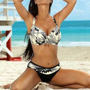 Women Plus Size Bathing Suit Top Large Cup High Waistbottom Bikini Set Swimwear Swimsuit Sexy Beachwear Biquini Bikinis Summer