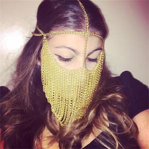 Золотые дизайнерские маски женские вечеринки знаменитости металлические головки цепь лица маска для лица вечеринка ночной клуб Queen Style Break Dance DJ Music Halloween маски