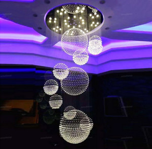 Modern K9 Crystal Chandelier For Staircase 11pcs Large Crystal Ball LED Lamp Spiral Design Living Room Lighting Fixtures