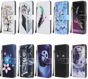 Leather Wallet Case For Samsung Note 20 Pro S20 Ultra S10 A51 5G A71 5G Flower Cartoon Leopard Panda Wolf Butterfly Holder Flip Cover Strap