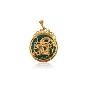 Gold Halskette chinesische Tibet Gold Tierhalsketten Malay Jade-Anhänger Frauen-Edelstahl-Grün-Jade-Drachen-Anhänger Männer Jungen
