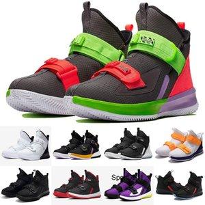 2020 Nouveau Lebron Soldier 13 XIII Triple Noir Or Blanc Ice Blue Enfants Hommes Chaussures de basket-ball Soldats 13s PULL Lacets Chaussures de sport