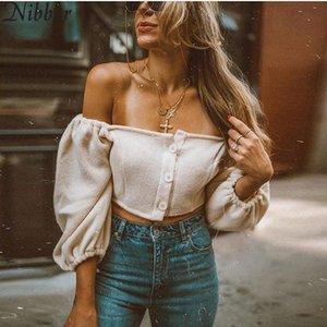 Nibber Kadınlar Moda seksi Slash boyun üst tişört Sonbahar yeni Zarif beyaz Crop Top parti Katı Renk Yumuşak Elastik İnce giyim