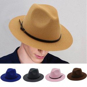 Frauen Männer Wolle Vintage-Gangster Trilby Filz-Fedora-Hut mit breitem Rand Gentleman elegante Dame Winter Herbst Jazz Caps G UDyj #
