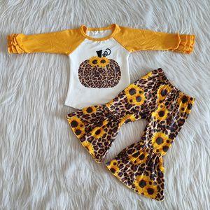 Mode Herbst Babykleidung Sätze heißen Verkauf Mädchen Boutique-Bell-Bottom-Outfits Kürbis Sonnenblume Outfits Kinder Designerkleidung Mädchen fallen