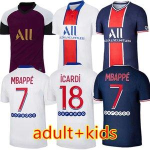마이 요 파리 뉴저지 2021 챔피언 파리 축구 유니폼 MBAPPE ICARDI 가나 VERRATTI (20) (21) 축구 셔츠 남자 아이 키트 타이츠 드 발