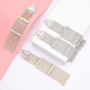 Exaggerated multi-layer rhinestone Diamond pagoda-shaped geometric earrings women's new dinner earring