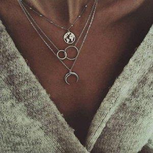 Мульти Layers ожерелье двойного круг Луна Ox Хорна Карта мир Кулон серебряного цвета золота гальваническим металл шарик цепь Женщина подарки