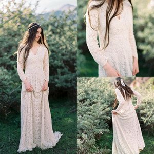 Cheap Bridesmaid Dresses Vintage V-Neck Lace Applique Wedding Guest Dress Long Sleeve Floor Length Party Gowns Custom Made