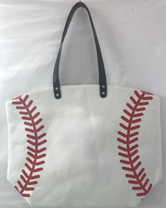 18 Arten Baseball-Taschen-Tasche Leinwand Handtaschen Softball Fußball-Schulter-Beutel Fußball-Druck-Taschen-Baumwollsport Tote Handtasche GGA3587-1