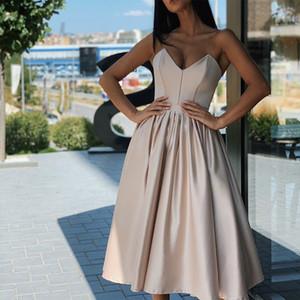 2021 Sexy Plus Size Vestidos vestido de cocktail Modest doce de coração Neck Zipper Tea Duração Curto Prom Party Mulher Champagne Fashion Dress 2020