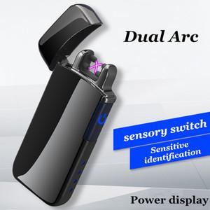 Induttivo doppio arco Accendino USB ricaricabile a LED Electronic Power schermo al plasma accendisigari Palse Pulse Thunder Accendino