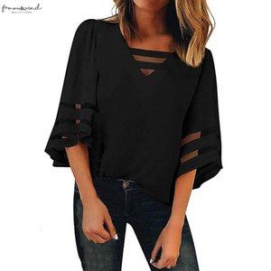 Womens Blouse Hollow Out Cross V Neck Shirts Women Mesh Panel Blouse 3 4 Bell Sleeve Loose Tops Cap Sleeve Summer Casual