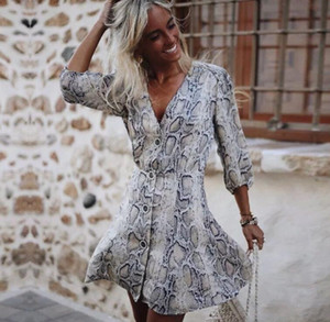 xshfbcl Womens Dresses New Arrival 2018 Fall Satin Snake Print Party Dress Ladies Autumn Summer Sexy Half Sleeve Casual