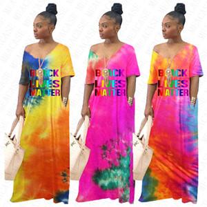 BLACK LEBT MATTER Brief Langes Kleid Tie Dye Maxi lose Kleider für Frauen Damen mit Tasche Overall Kurzarm Kapuzenpullover Boutique D71404