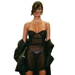 Mesh Sheer femmes sexy Voir Throught Robe Spaghetti Strap Robe moulante à volants High Fashion Party Mesdames Robes