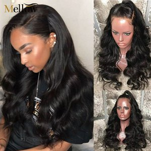 Sf peluca delantera del cuerpo de la onda pelucas Pre desplumados de encaje para mujer Negro Glusless cordón de las pelucas