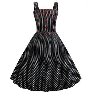 Платья Casual Женщины Zipper Кнопка Одежда площадь шея Женских винтажные платья Мода Полька Dot печать Щитового Womens Designer