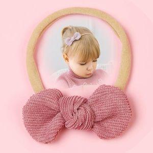Newborn Baby Girls Knot Headband Hair Bows Nylon Headbands Super Soft Elastic Stretchy Corduroy Hand tie Baby Hair Accessories