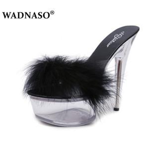 Été WADNASO mode sexy Talons Chaussons Mules Chaussures en cristal transparent plate-forme 15 CM Jelly Shoes Plus Size 34-42