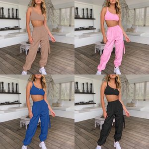 HAOYUAN Two 1Pcs Set Summer Outfits Sexy Off Sholder Strapless Crop Tops+Wide Leg Pants Suit 2 1Pcs Women Clothes Matching Set#595