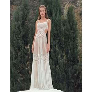 2020 Illusion Düğün Robe Spagetti Askı Waistless Custom Made Gelinlik Gelin fırfır Dantel Tül Pijama Kadınlar pijamalar