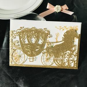 2020 Gold Glitter Wedding Invitation Horse Carriage Laser Cut Sweet 16 Invites Rustic Printable Invitations for Quinceanera Birthday Invite