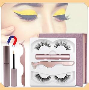 2 paires de faux cils magnétiques eyeliner aimanté les cheveux de vison d'imitation en trois dimensions 3D réutilisables cil sans colle garantie