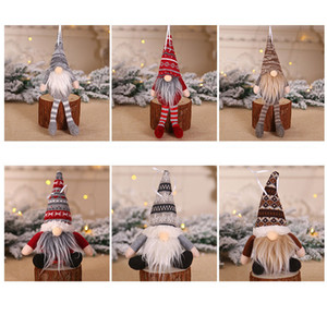 6 Colors Christmas Plush Ornament Decorations Knitted Gnome Doll Christmas Tree Wall Hanging Pendant Holiday Decor Gift Tree Decor HH9-2461