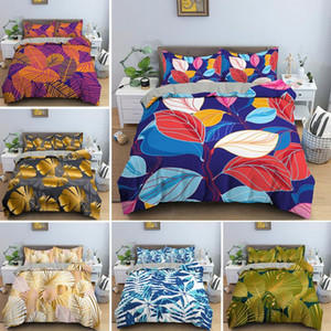 Multicolored Leaves Bedding Set Comfortable 2 3PCS Duvet Cover Sets With Pillowcase Soft Twin Single Double Queen King Size