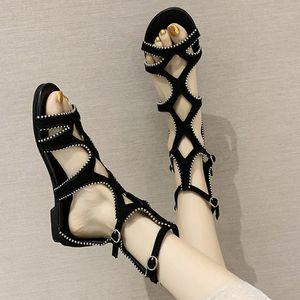 New summer women's sandals 2020 color-blocked zip-up retro zipper retro fashion wild flat high-top hollow Roman casual shoes rec