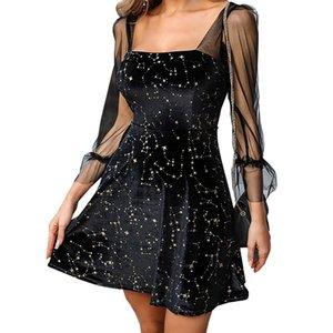 Kadınlar Seksi Elbise LBD Şeffaf Kol Tasarımcı Elbise Retro Şık İnce Siyah Elbise Kol Mesh Bronzlaştırıcı One Piece Bahar ve Yaz Giyim